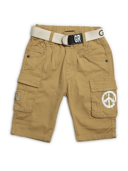 Kids Camel Solid Relaxed Fit Cargo Shorts