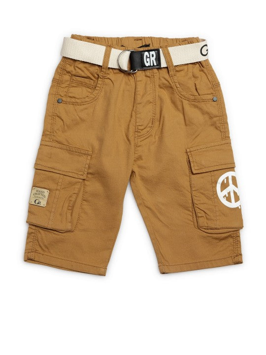 Kids Khaki Solid Relaxed Fit Cargo Shorts