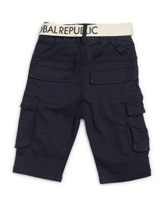 Kids Navy Blue Solid Relaxed Fit Cargo Shorts
