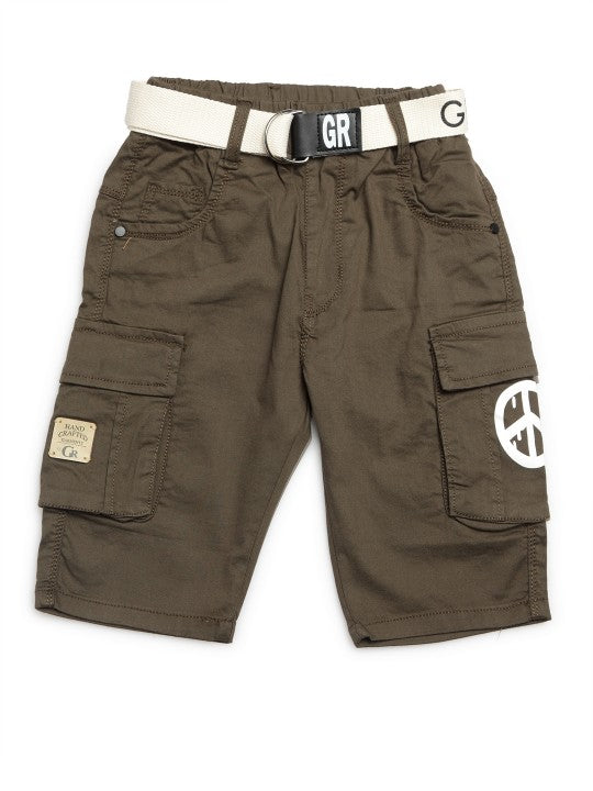 Kids Olive Green Solid Relaxed Fit Cargo Shorts