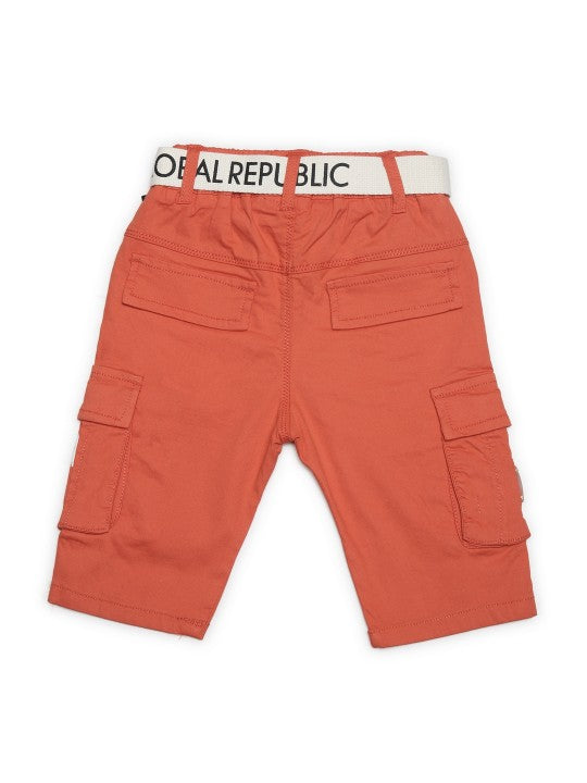 Kids Orange Solid Relaxed Fit Cargo Shorts