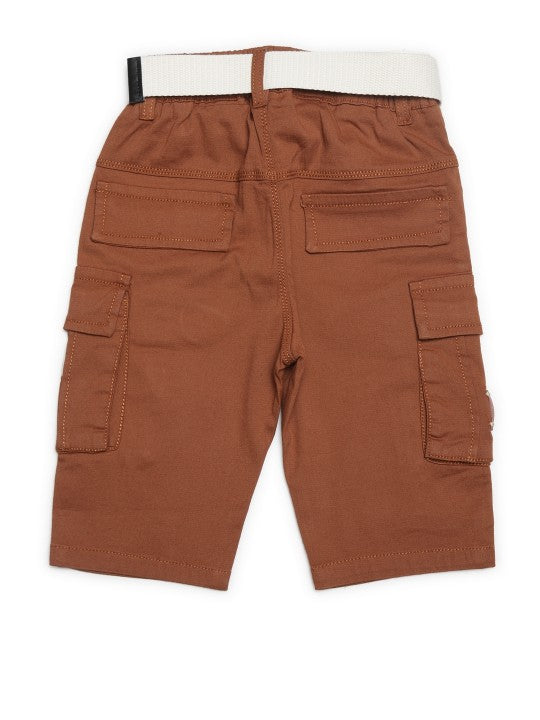 Kids Rust Solid Relaxed Fit Cargo Shorts