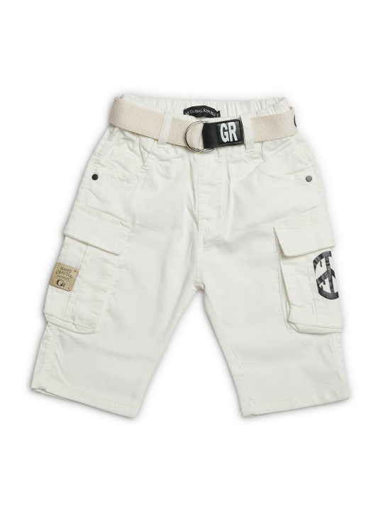 Kids White Solid Relaxed Fit Cargo Shorts