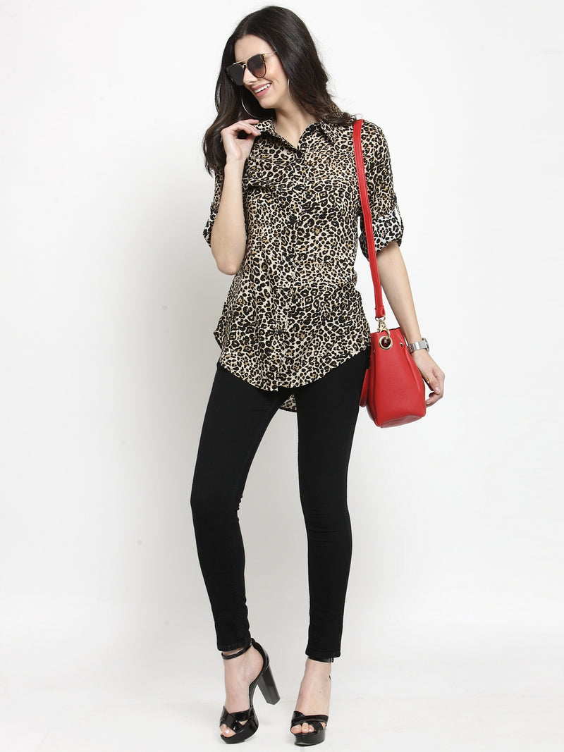 Women Beige Animal Printed Shirt