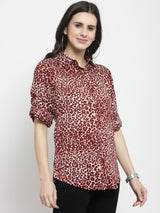 Women Maroon Animal Printed Shirt