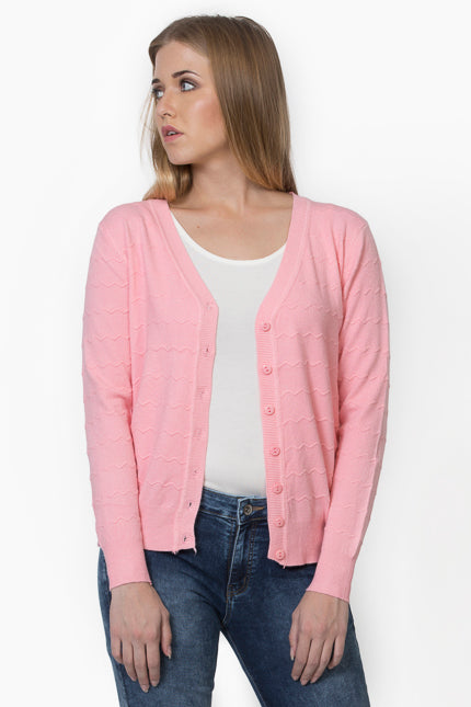 Women Peach Solid Basic Cardigan