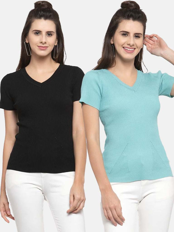 Women Solid Teal and Black Viscose Combo of 2 Tops