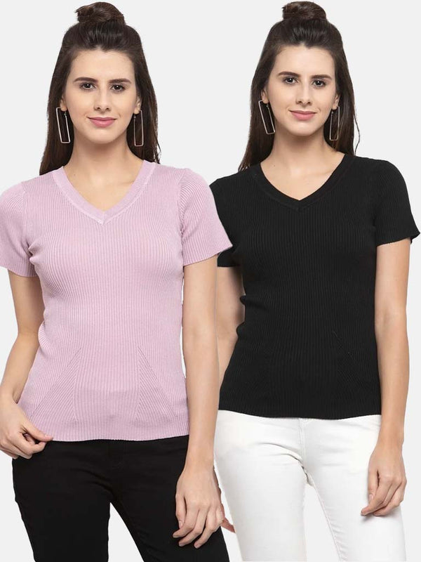Women Solid Pink and Black Viscose Combo of 2 Tops