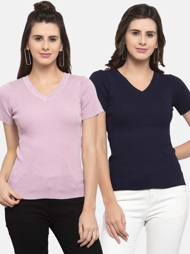 Women Solid Pink and Navy Blue Viscose Combo of 2 Tops