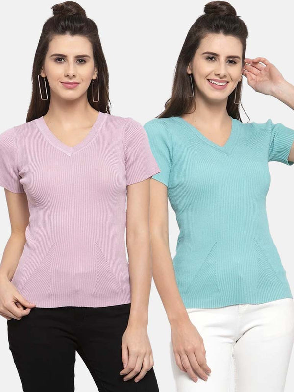 Women Solid Pink and Teal Viscose Combo of 2 Tops