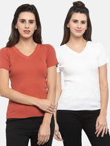 Women Solid Tan and White Viscose Combo of 2 Tops