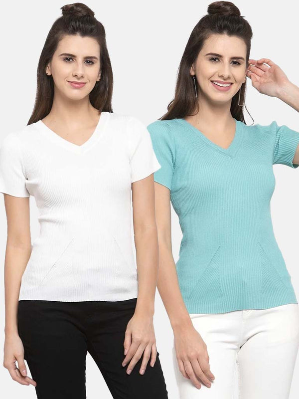 Women Solid Off White and Teal Viscose Combo of 2 Tops