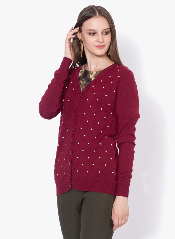 Women Solid Maroon Cardigan With Pearls