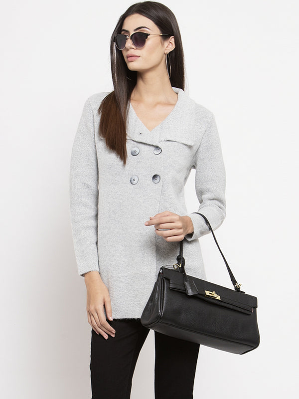 Women Grey Long Sleeves Solid Coat
