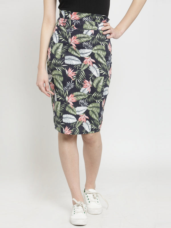 Women Blue Tropical Printed Bodycon Skirt