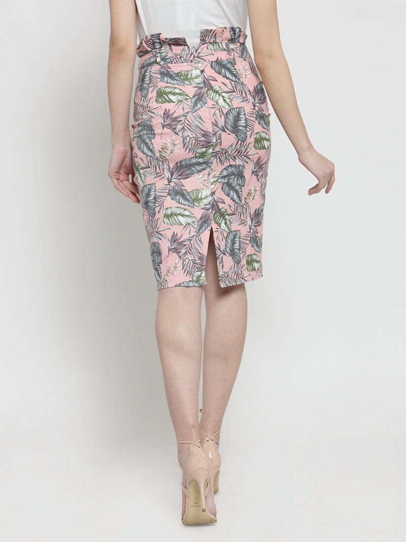 Women Pink Tropical Printed Bodycon Skirt