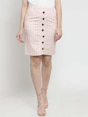 Women Pink Striped Bodycone Skirt