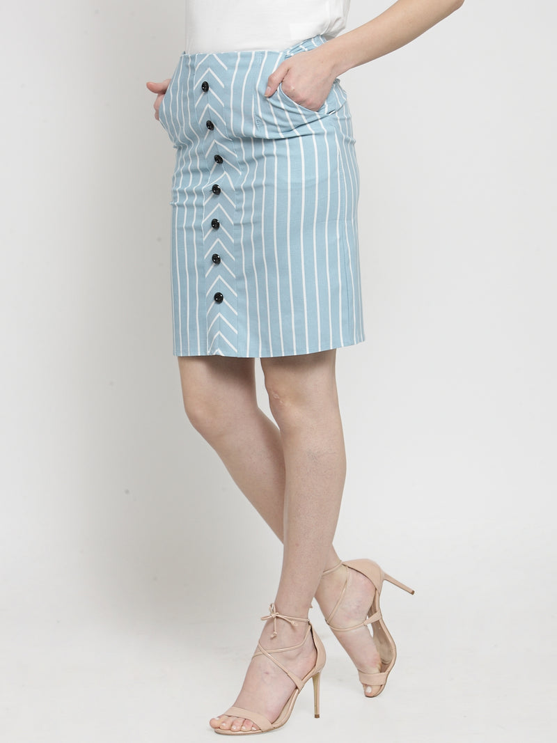 Women Blue Striped Skirts