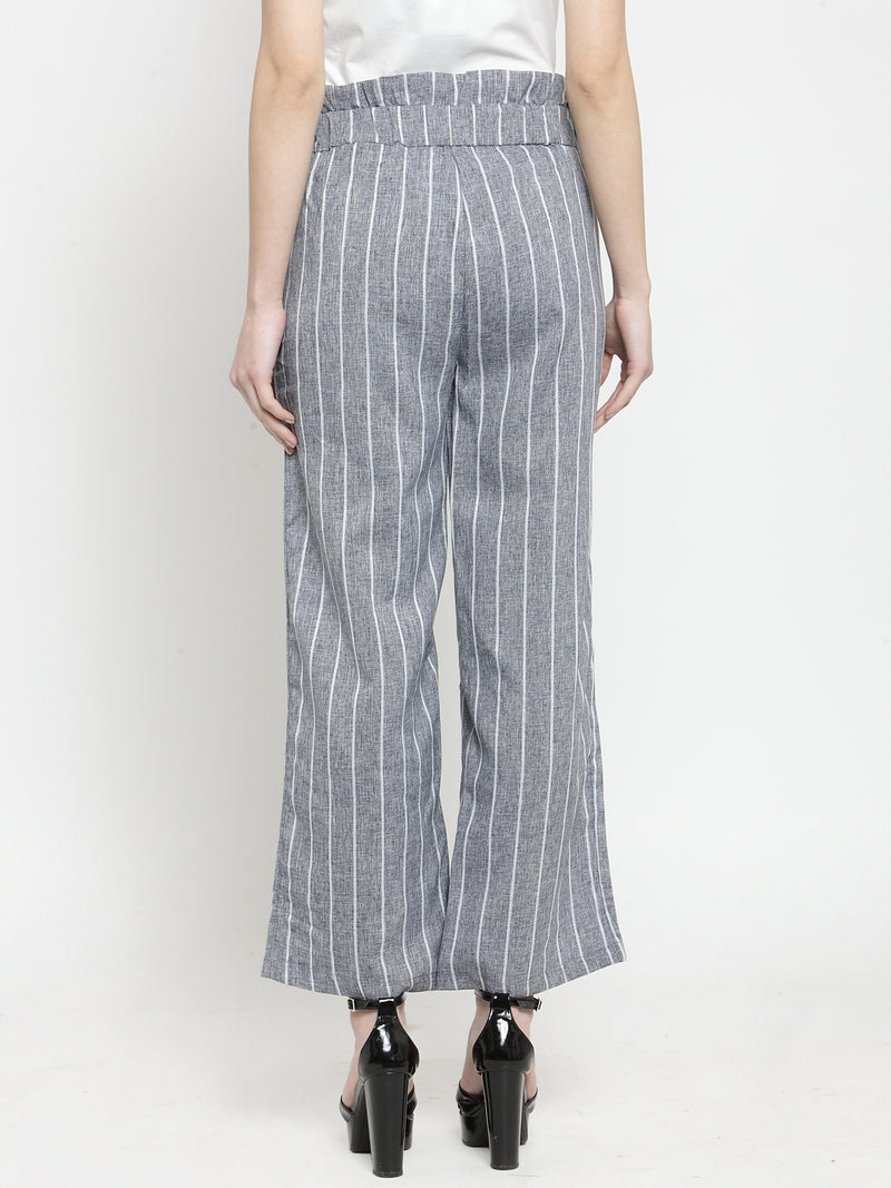 Women Cotton Linen Striped Printed Grey Lower