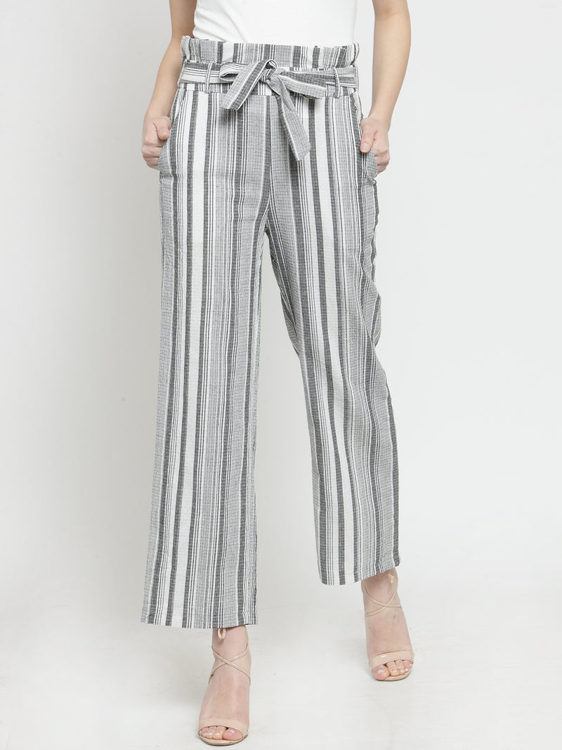Women Grey Striped Relaxed Fit Lower