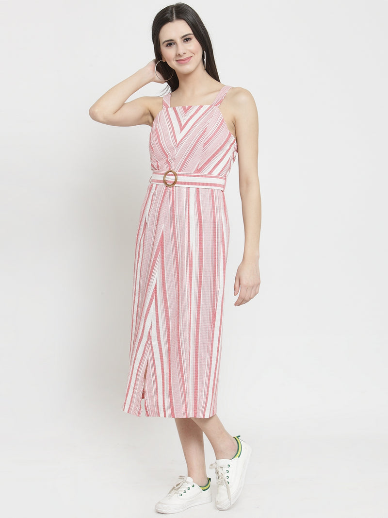 Women Red Striped Square Neck Slim Fit Dress