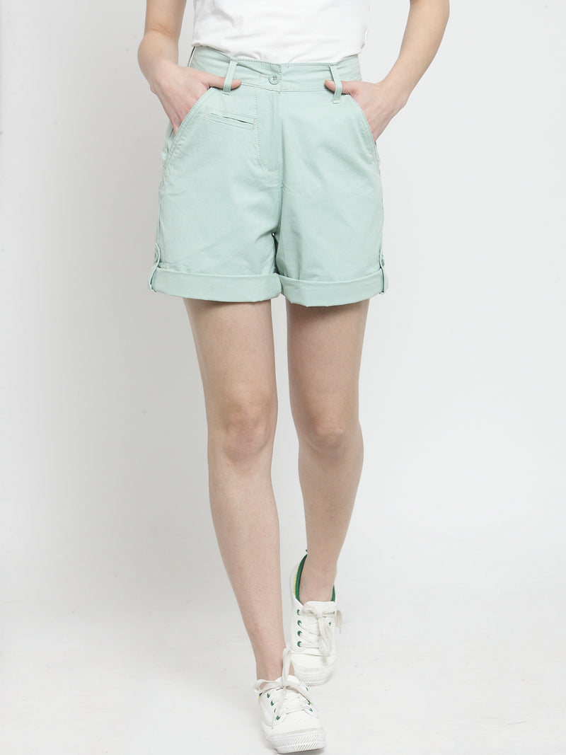 Women Mint Green Solid Relaxed Fit Chino Shorts