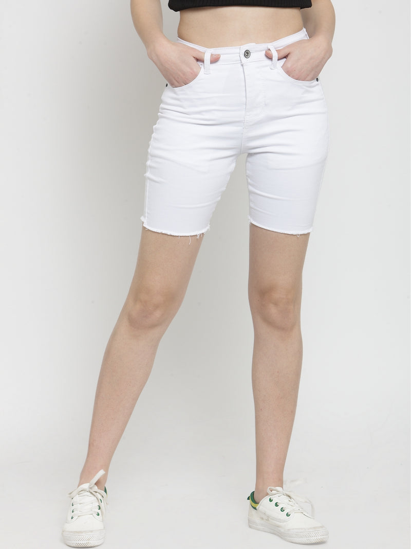Women White Solid Slim Fit Denim Shorts