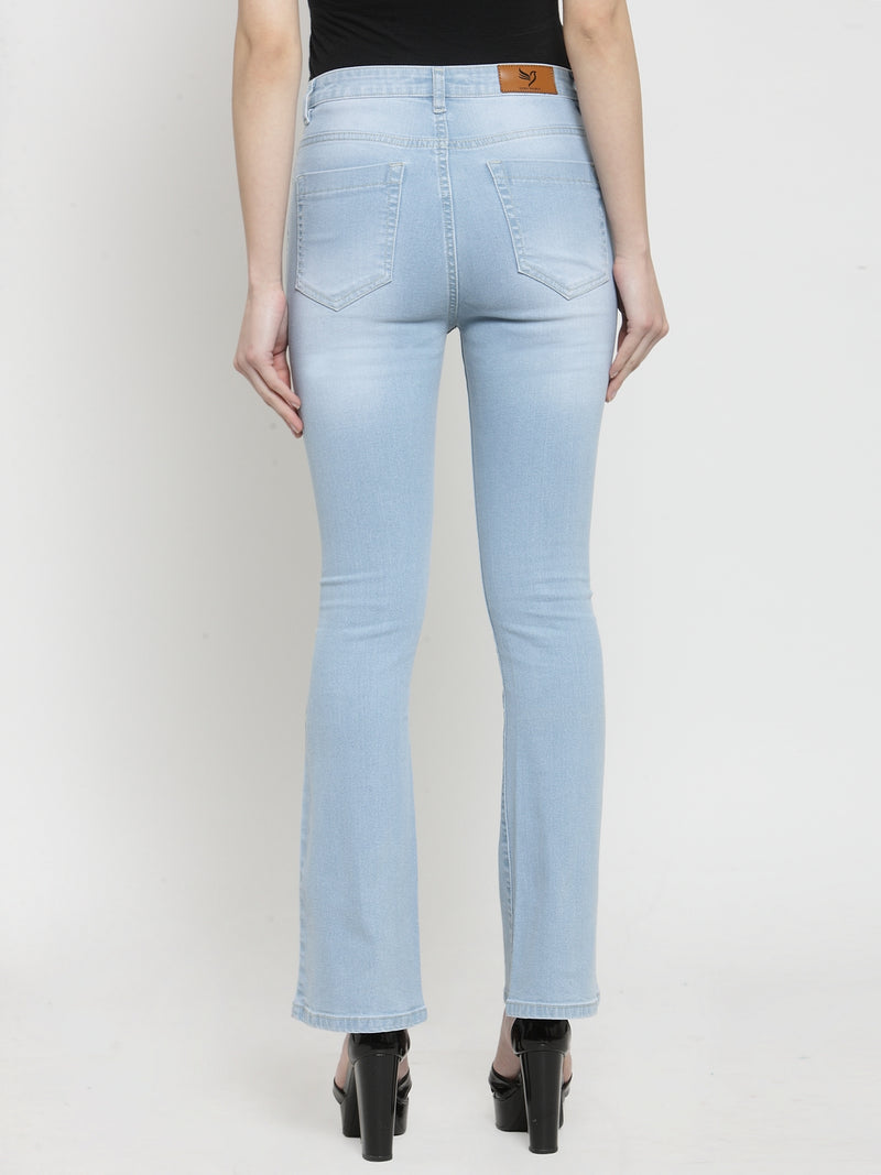 Women Light Blue Denim Bell Bottom Jeans