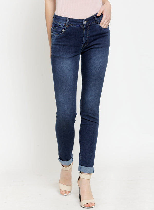 Women Dark Blue Solid Skinny Jeans