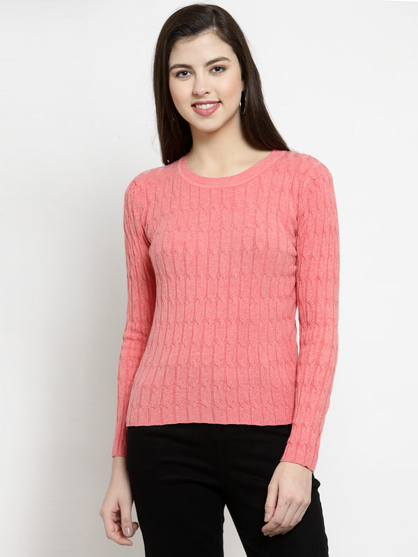 Women Solid Brick Round Neck Skeevi