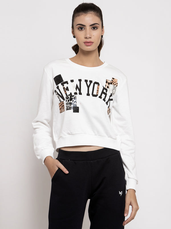 Women Off White Round Neck Printed Sweatshirt