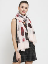 Women Pink Center Printed Stole