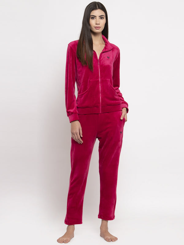 Women Magenta Solid Night Suit