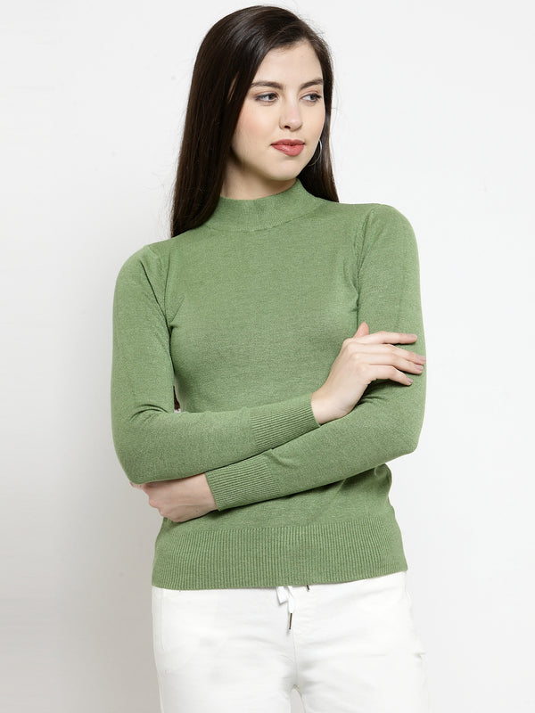 Women Olive Turtle Neck Full Sleeve Skeevi Pullover