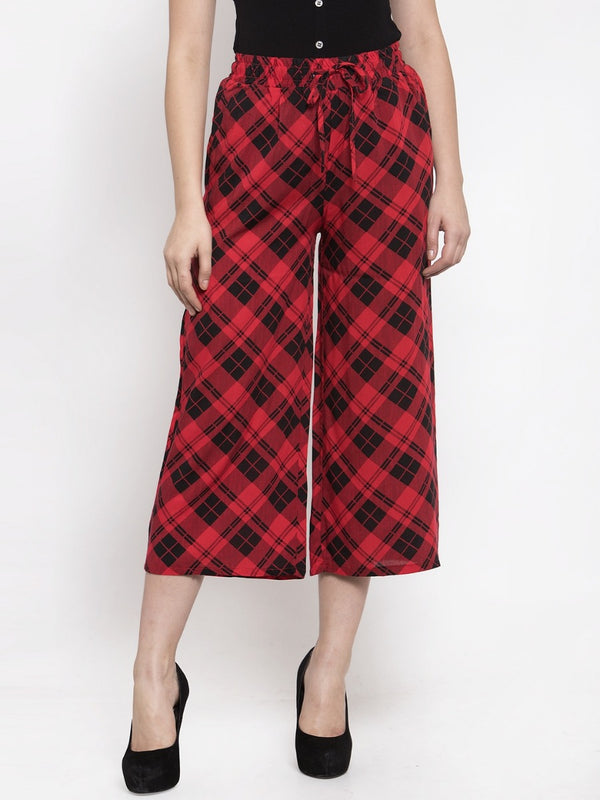 Women Checked Red Rayon Lower