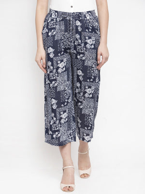 Women Printed Blue Rayon Lower