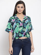 Women Printed Navy Blue Notched Collar Crop Top