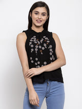 Women Embroidered Black Round Smocked Neck Top