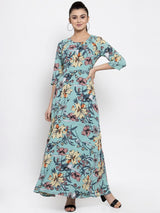 Women Printed Aqua Blue Maxi Dress
