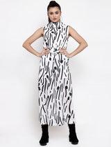 Women White Printed Turtle Neck Jumpsuit