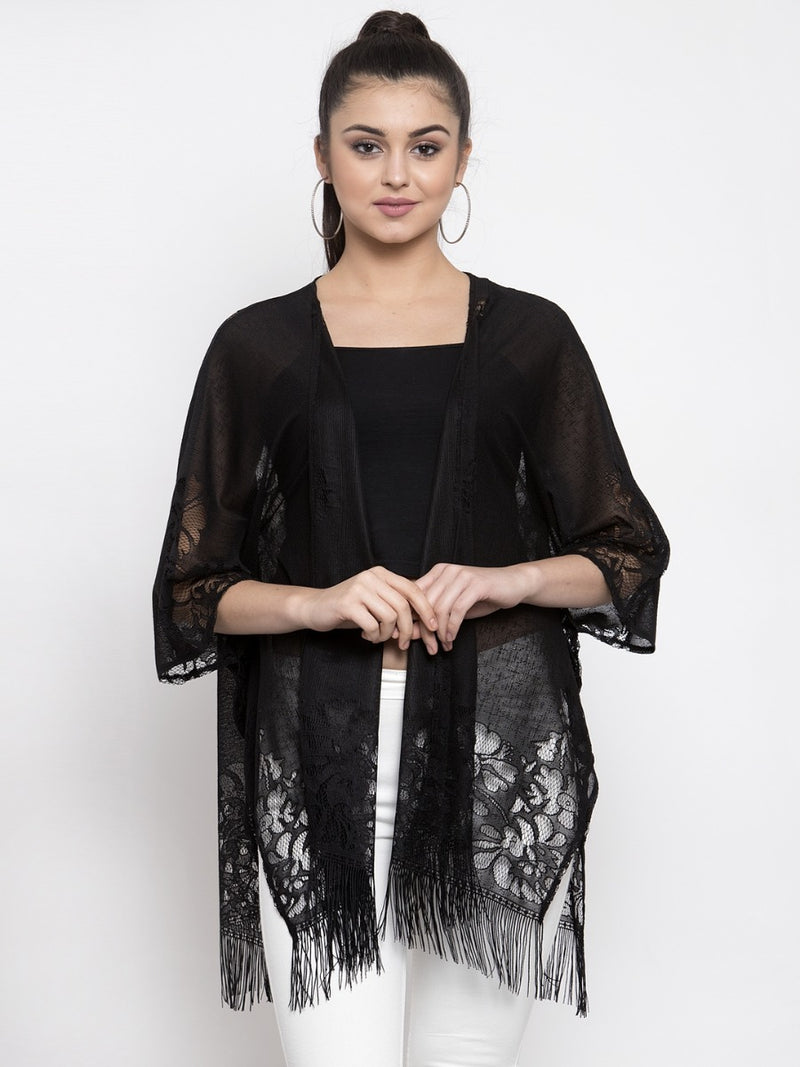 Women Solid Black Sheer Lace Shrug
