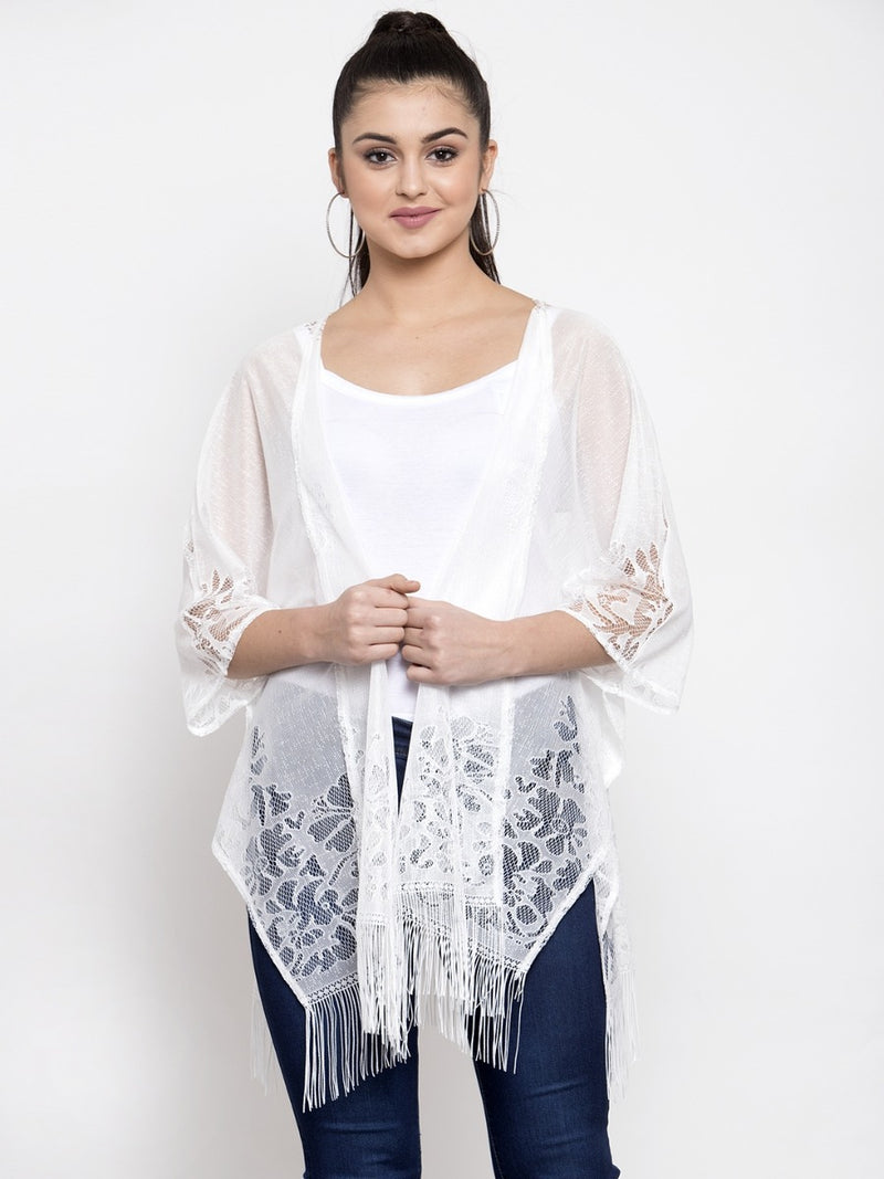 Women Solid White Sheer Lace Shrug