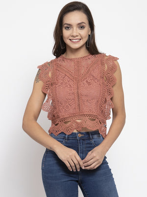 Women Solid Lace Rust Round Neck Top