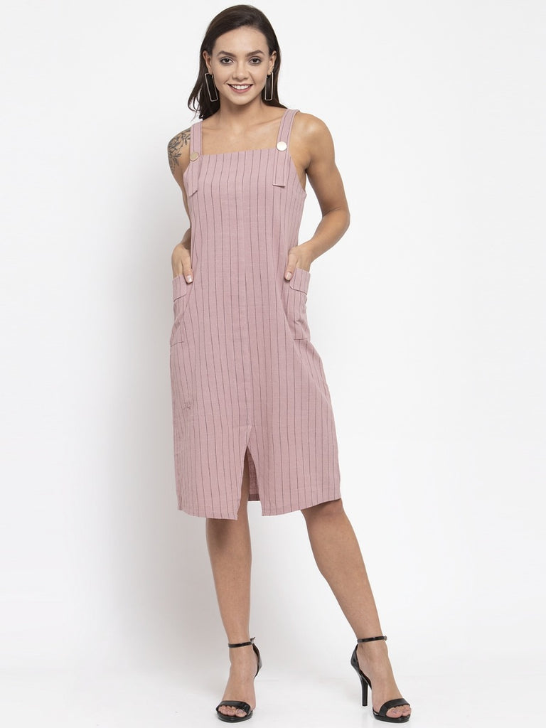 Women Striped Pink Shoulder Straps Dungaree