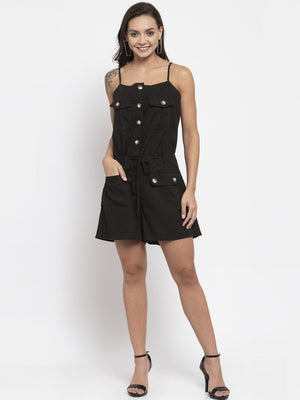 Women Solid Black Shoulder Straps Dungaree