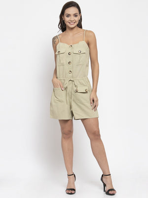 Women Solid Green Shoulder Straps Dungaree