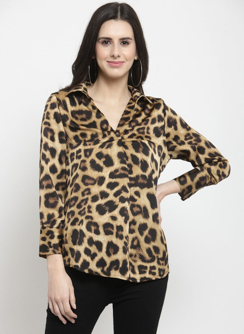 Women Printed Collared Shirt
