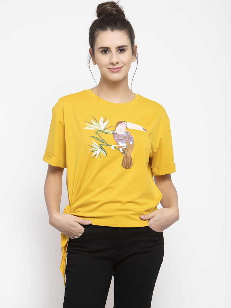 Women Printed Mustard Knot Round Neck Top