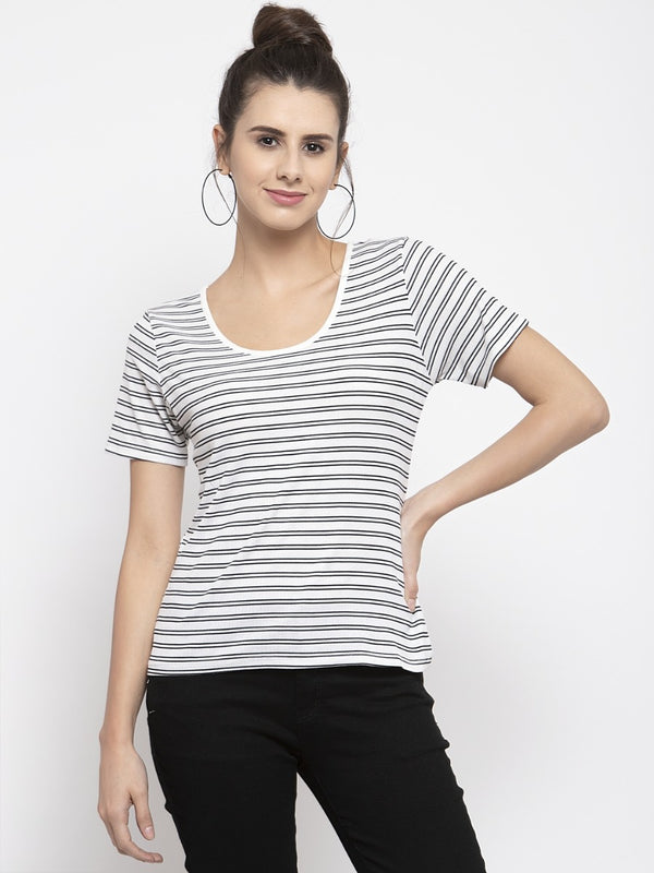 Women Striped White Scoop Neck Top