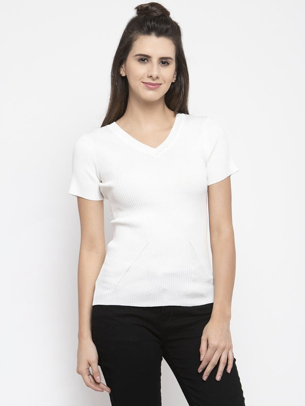 Women Solid Off White V-Neck Top